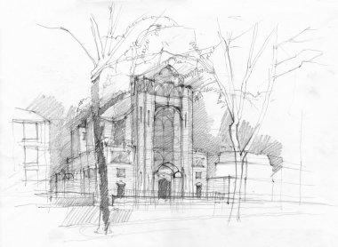 Sketch of church in Paris