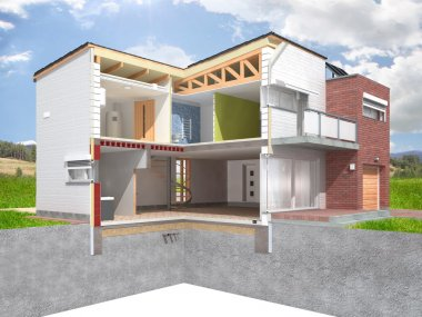Illustration of a modern house in the section with natural background.