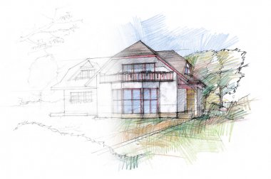 Hand sketch of a house