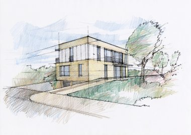 House sketch by pencils