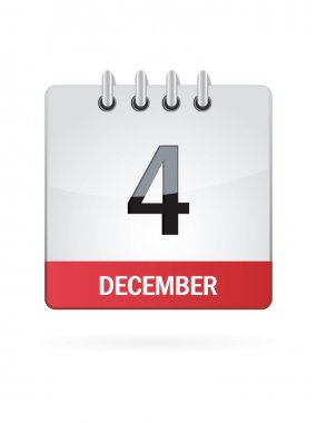Fourth In December Calendar Icon On White Background