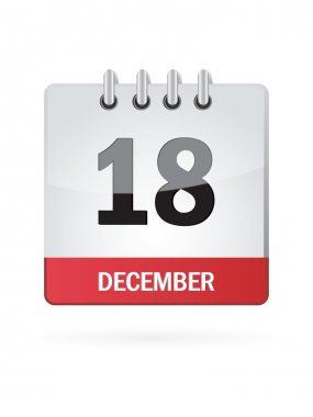Eighteenth In December Calendar Icon On White Background