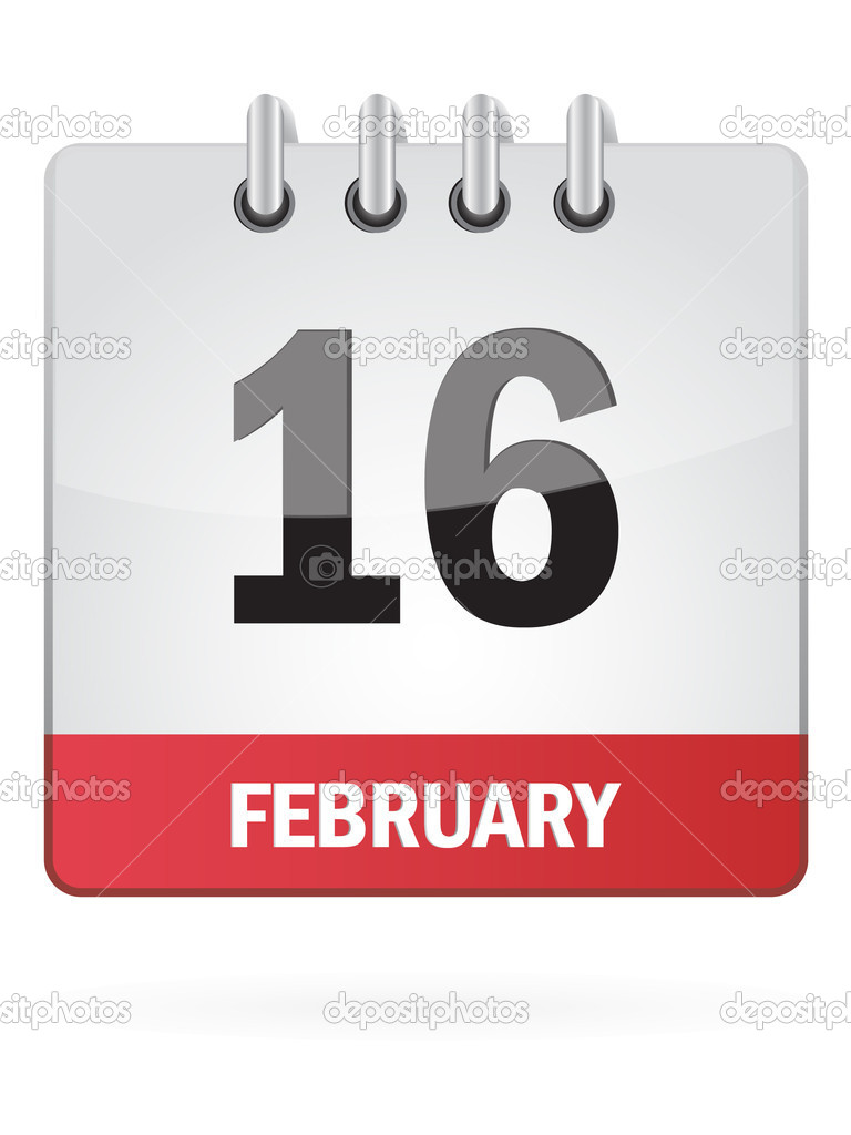 February Calendar Illustration : Sixteenth in february calendar icon on white background