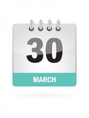 30 March Calendar Icon On White Background stock vector