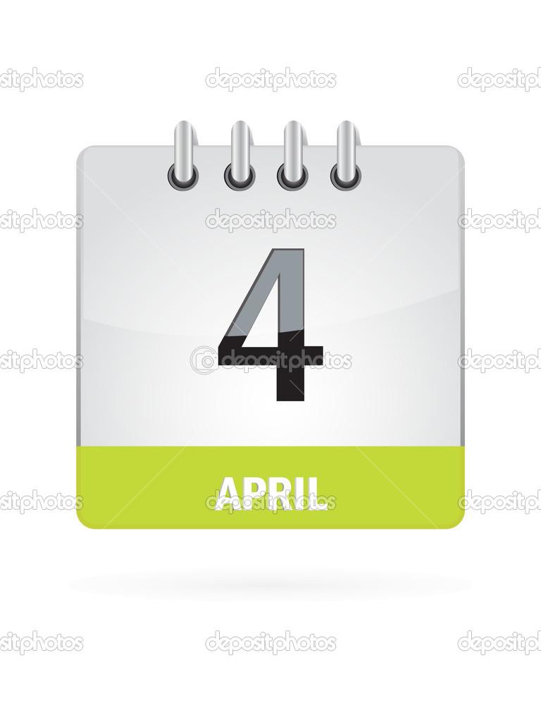 April Calendar Illustration : April calendar icon on white background — stock vector