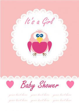 Its a girl baby with cute owl. Baby shower design. vector illustration