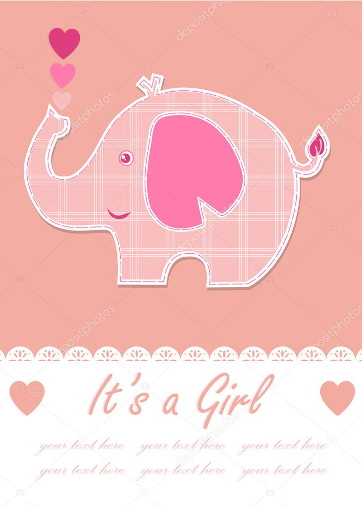 Its a girl baby with cute elephant. Baby shower design. vector illustration