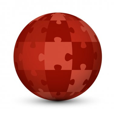 red puzzle globe