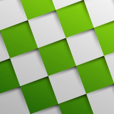 3d green oblique squares in square background