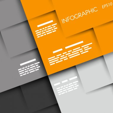 orange and grey infographic rounded squares ABCD