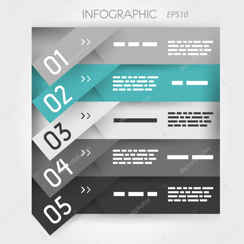 grey and turquoise oblique infographic five oblique sticker options
