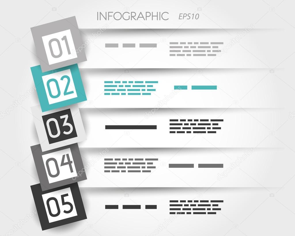 turquoise transparent infographic 5 options with big squares