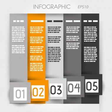 orange column infographic five options in big down square