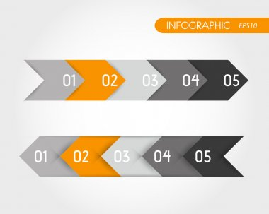 orange infographic set of arrows