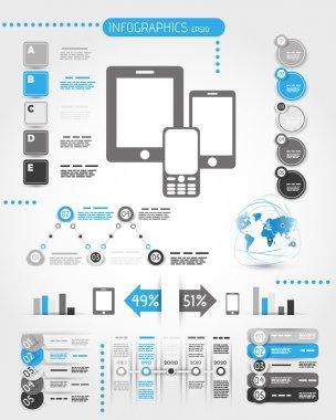 blue mobile phone world infographics