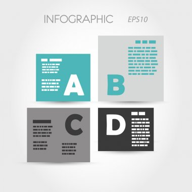 turquoise and grey infographic squares with letters