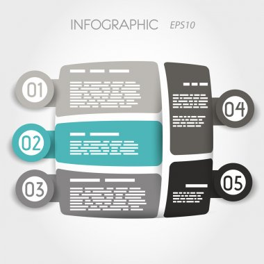 turquoise rounded square infographic layout with big rings