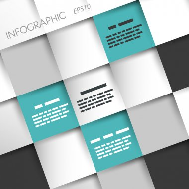 turquoise squares infographic background