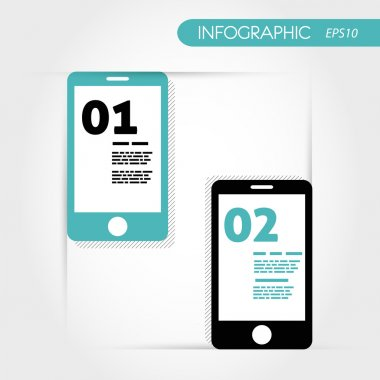 two turquoise infographic mobile phones