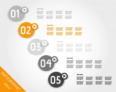orange striped infographic numbers in rings