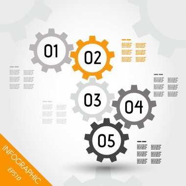 five orange infographic gears