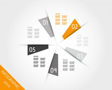 orange infographic circle from trapeziums
