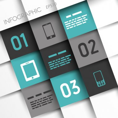 turquoise and grey infographic squares with mobile icons