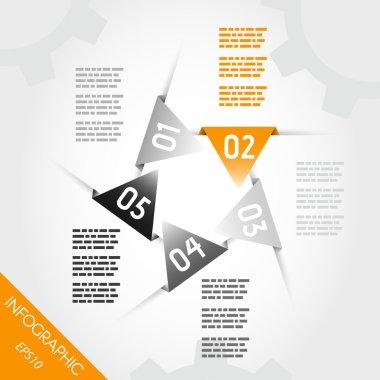 orange infographic triangular labels in star
