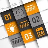 Orange and grey infographic squares with time icons
