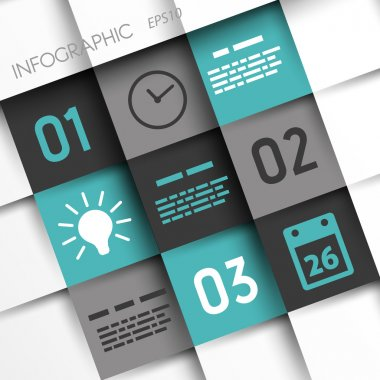 Turquoise and grey infographic squares with time icons. infographic concept. stock vector