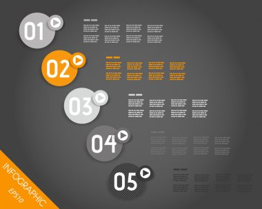 dark orange striped infographic numbers in rings