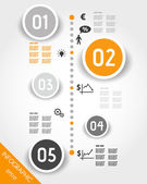 Orange timeline with business icons