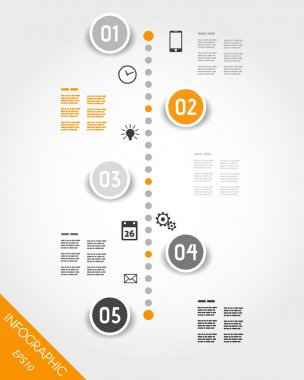 orange timeline with buttoms and icons