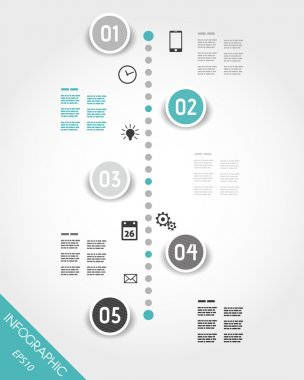 turquoise timeline with buttons and icons