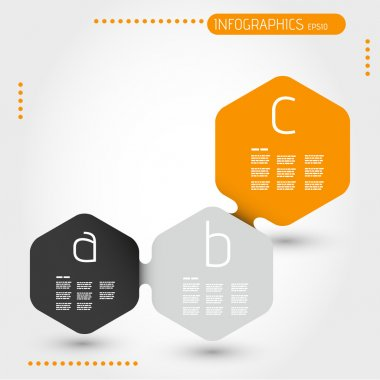 orage hexagonal infographic template with three steps