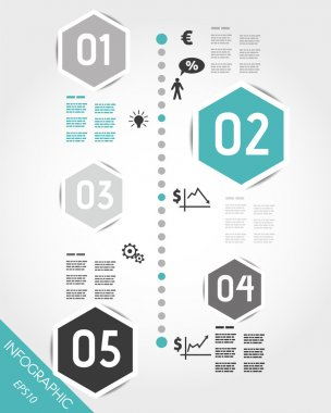 turquoise timeline with hexagonal business icons