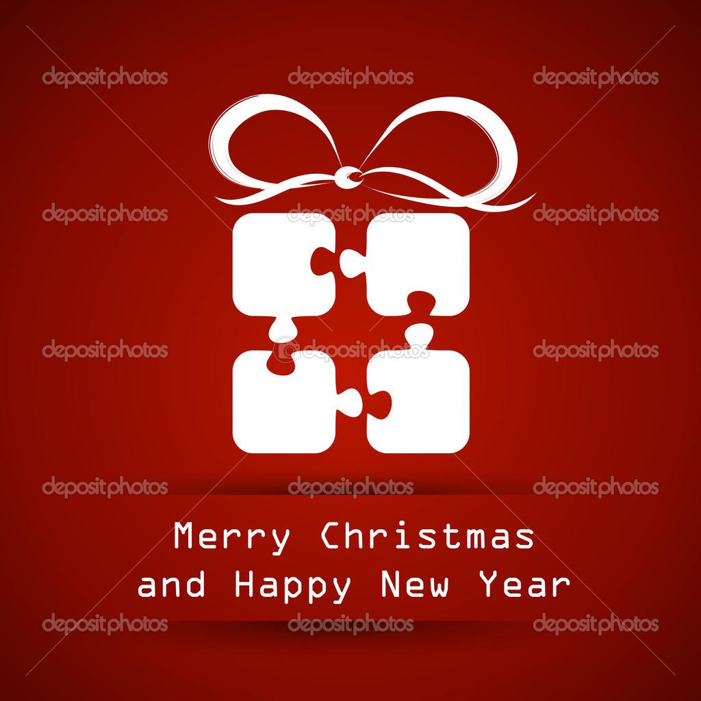 Rote Weihnachten Rahmen mit Puzzle Geschenk — Stockvektor ...
