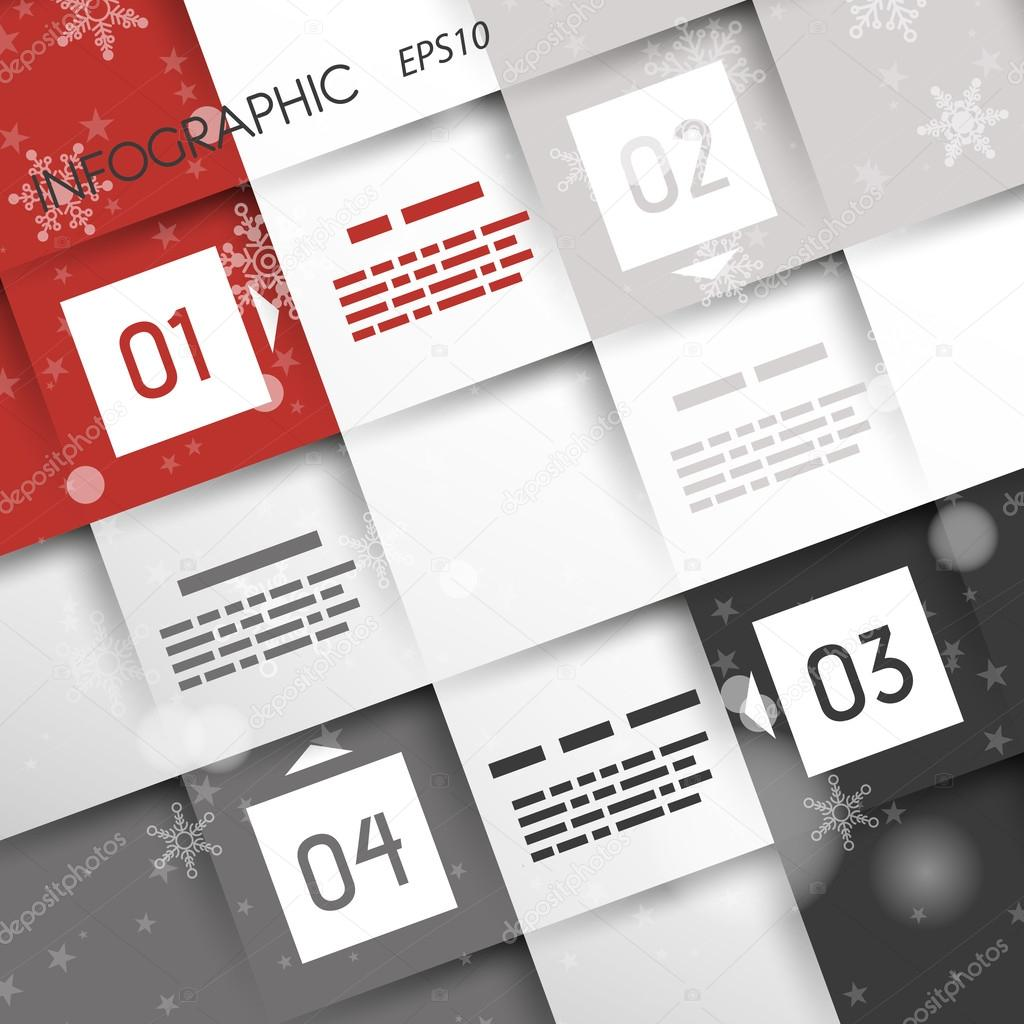 red square christmas infographic four options in corners