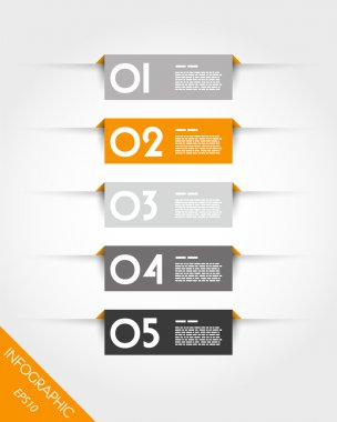 orange rectangular stickers with shadows
