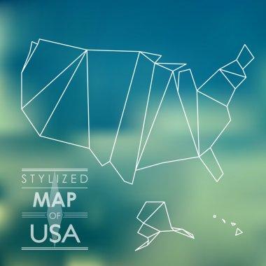 stylized map of USA