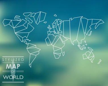 stylized map of world