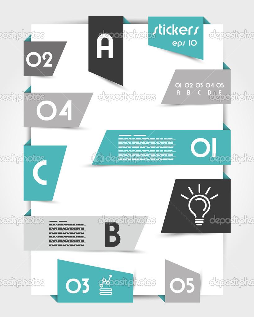Wunderbar Satz Von Schrägen Türkis Origami Aufkleber. Infographik Konzept U2014 Vektor  Von Mdesignstudio