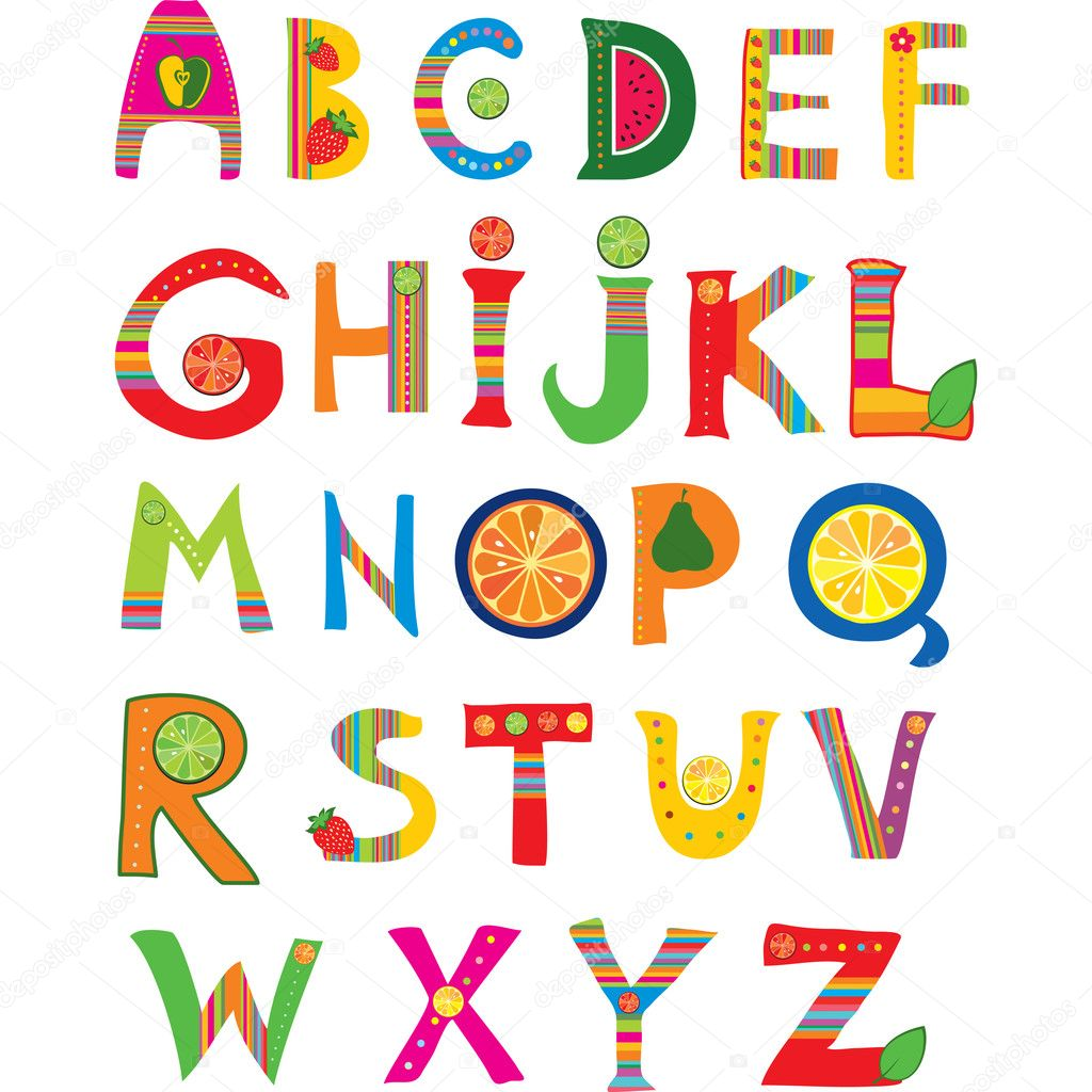 Alphabet design in a colorful style.