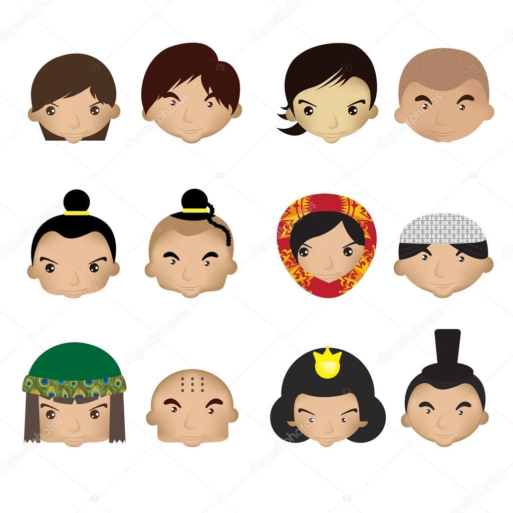 Super dessin animé enfants visage — Image vectorielle #39595379 QF15