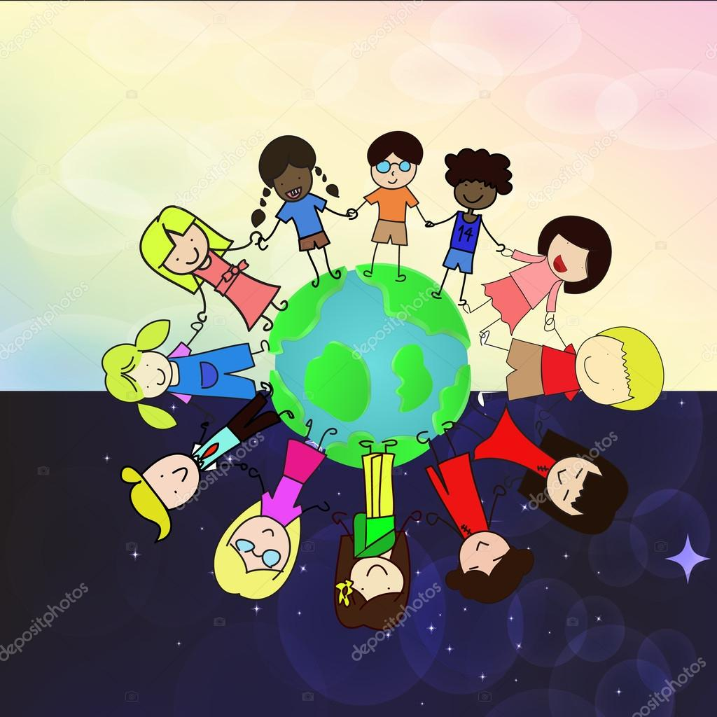 Kids holdding hand around the world