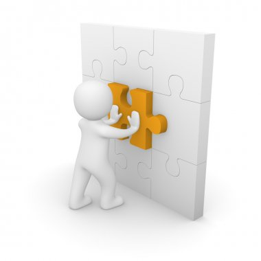 3d man pushing puzzle piece into wall