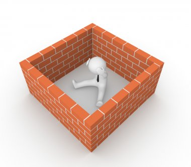3d man surrounded by the brick wall