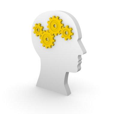 Human head silhouette with yellow gears