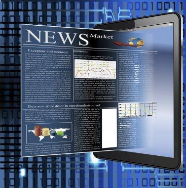 Vector image of news in palmtop