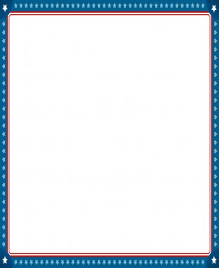 Illustrated image of empty picture frame with stars and stripes